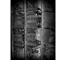 old Books black white - alte Bücher schwarz weiß Photographic Print