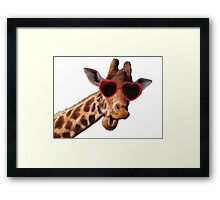 Cool Giraffe wearing Sunglasses ( fun humour comedy ) Framed Print