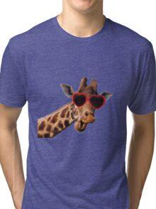Cool Giraffe wearing Sunglasses ( fun humour comedy ) Tri-blend T-Shirt
