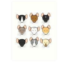 Ratty Faces Art Print