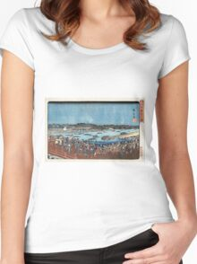 Fireworks At Ryogoku - Hiroshige Ando - c1840 - woodcut Women's Fitted Scoop T-Shirt