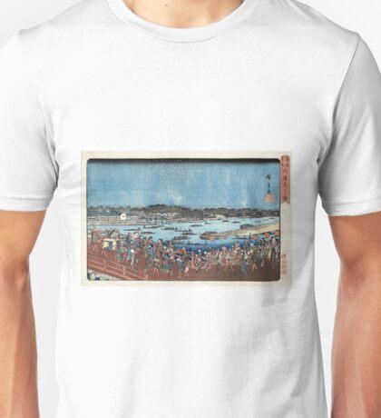 Fireworks At Ryogoku - Hiroshige Ando - c1840 - woodcut Unisex T-Shirt