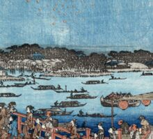 Fireworks At Ryogoku - Hiroshige Ando - c1840 - woodcut Sticker