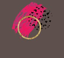 Abstract Black, Pink, & Faux Gold Brushstrokes Womens Fitted T-Shirt