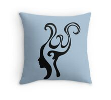 Thought-wave, retro graphic winding female profile portrait  Throw Pillow