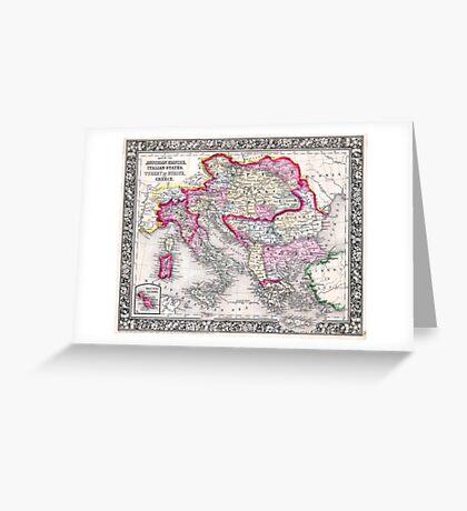 Vintage Map of Europe Austria Italy Turkey Greece Greeting Card