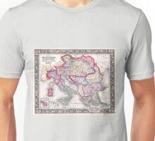 Vintage Map of Europe Austria Italy Turkey Greece Unisex T-Shirt