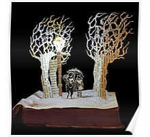 Tumnus and Lucy Narnia book sculpture Poster