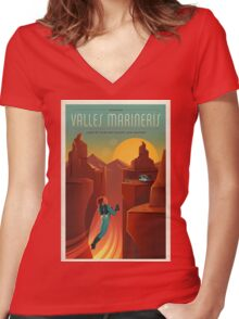 Vintage SpaceX Valles Marineris Mars Travel Women's Fitted V-Neck T-Shirt