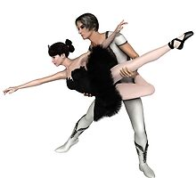 Black Swan Pas De Deux from Swan Lake by algoldesigns