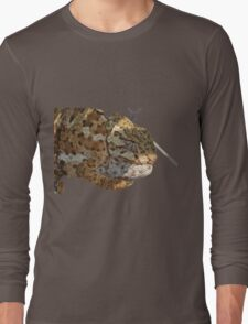 Chameleon Hanging On A Wire Fence Vector Long Sleeve T-Shirt