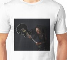 Rock chick smashing electric guitar Unisex T-Shirt
