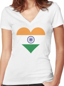 A heart for India Women's Fitted V-Neck T-Shirt