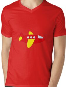 Red and Yellow Airplane Mens V-Neck T-Shirt