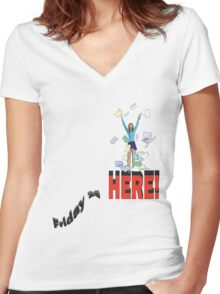 Friday is Here! Women's Fitted V-Neck T-Shirt