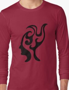 Thought-wave, male profile portrait in flames Long Sleeve T-Shirt