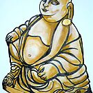 Budha with Gold earring by Woodie