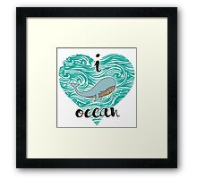 i love ocean (happy whale) Ocean Framed Print