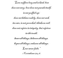 """1 Corinthians 13:4-8 """"Love suffers long and is kind"""" Love Chapter Bible Scripture Verse Inspirational Quote by dottipriceart"""