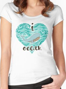 i love ocean (happy whale) Ocean Women's Fitted Scoop T-Shirt