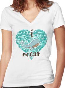 i love ocean (happy whale) Ocean Women's Fitted V-Neck T-Shirt