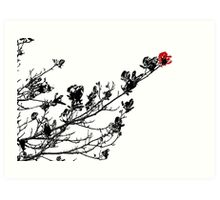 Longing To Be Red - Black White and Red Series Art Print