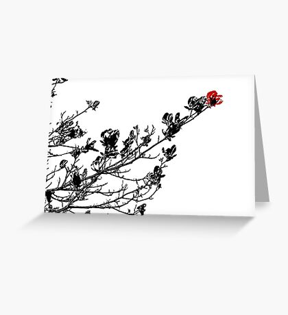 Longing To Be Red - Black White and Red Series Greeting Card
