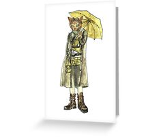 Steampunk Yellow Umbrella Cat Greeting Card
