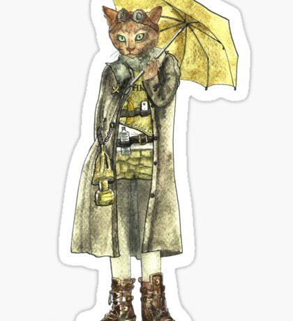 Steampunk Yellow Umbrella Cat Sticker