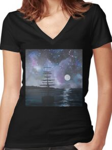 Neverland at Night 2 Women's Fitted V-Neck T-Shirt