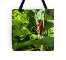 Tropical Impressions - Red Ginger Flower, Framed in Lush Jungle Green Tote Bag
