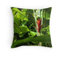 Tropical Impressions - Red Ginger Flower, Framed in Lush Jungle Green Throw Pillow