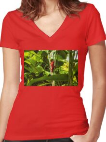 Tropical Impressions - Red Ginger Flower, Framed in Lush Jungle Green Women's Fitted V-Neck T-Shirt