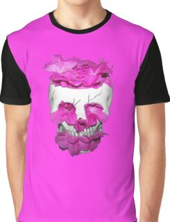 Skull Full of Pink Flowers Graphic T-Shirt