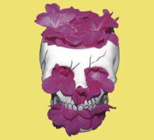 Skull Full of Pink Flowers Kids Tee