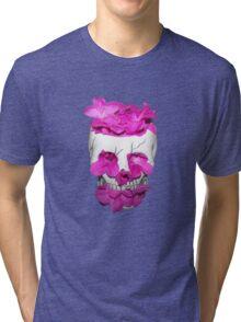 Skull Full of Pink Flowers Tri-blend T-Shirt