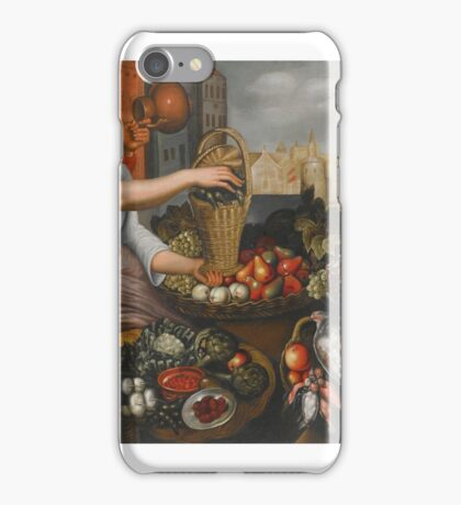Follower of Joachim Beuckelaer A MARKET STALL OF FRUIT, VEGETABLES AND GAME, WITH A MAN HOLDING A JUG AND A MAID HOLDING A BASKET iPhone Case/Skin