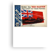 WAR POSTER, Red Duster, Red Ensign, Royal Merchant Navy, WWII poster Canvas Print