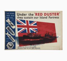 WAR POSTER, Red Duster, Red Ensign, UK, GB, Royal Merchant Navy, WWII, Poster One Piece - Long Sleeve