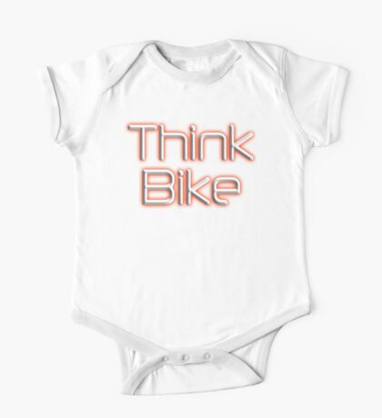 THINK BIKE! BIKE, BICYCLE, CYCLING, CYCLE, safety, MOTORBIKE, red One Piece - Short Sleeve