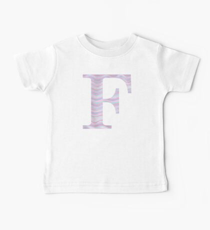 Initial F Rose Quartz And Serenity Pink Blue Wavy Lines Baby Tee