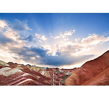Rainbow Mountains at Sunset Photographic Print