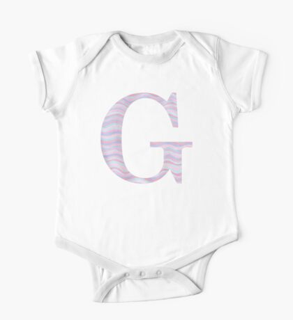 Initial G Rose Quartz And Serenity Pink Blue Wavy Lines One Piece - Short Sleeve