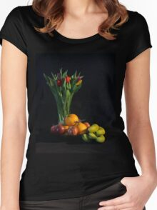 Fruit and Flowers Women's Fitted Scoop T-Shirt