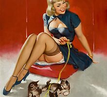 Gil Elvgren Pin Up with kittens by RookieRomance