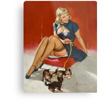 Gil Elvgren Pin Up with kittens Metal Print