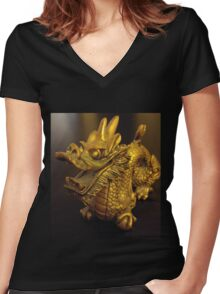 Tiny Feng Shui Dragon Women's Fitted V-Neck T-Shirt