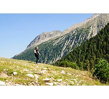 Female hiker in Zillertal alps, Tirol, Austria Model release available  Photographic Print