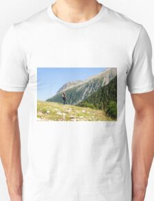 Female hiker in Zillertal alps, Tirol, Austria Model release available  T-Shirt