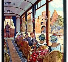 Rome Italy Interior luxury tourist tram Italian travel by aapshop